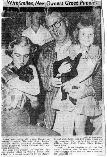 "Wisc. State Journal, July 3, 1950 ""With Smiles,New Owners Greet Puppies"""