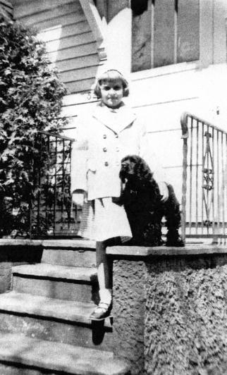 Gloria and the puppy Midge, undated photo  ca. 1950