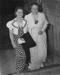 1950: Nettie (Slickman) Spevacek, left, with Vera Browne, officers in the East Side Women's Club, arriving at a banquet.