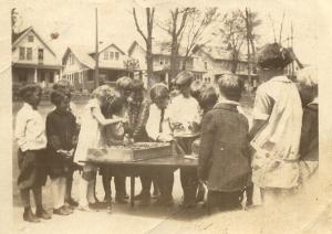Dorothy, 2nd grade, 1929. Photo taken in back of old Marquette school looking toward Rusk Street.