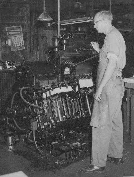 Royal Eklof at a press purchased in the 1940s.