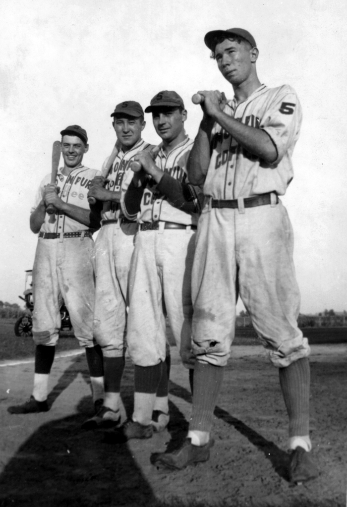 "Simon Pures ""Murderer's Row,"" 1941. George DeVoe, Verne Hackbart, Fred Zeich, Cy Klubertanz. Photo courtesy of Joan Steffen."